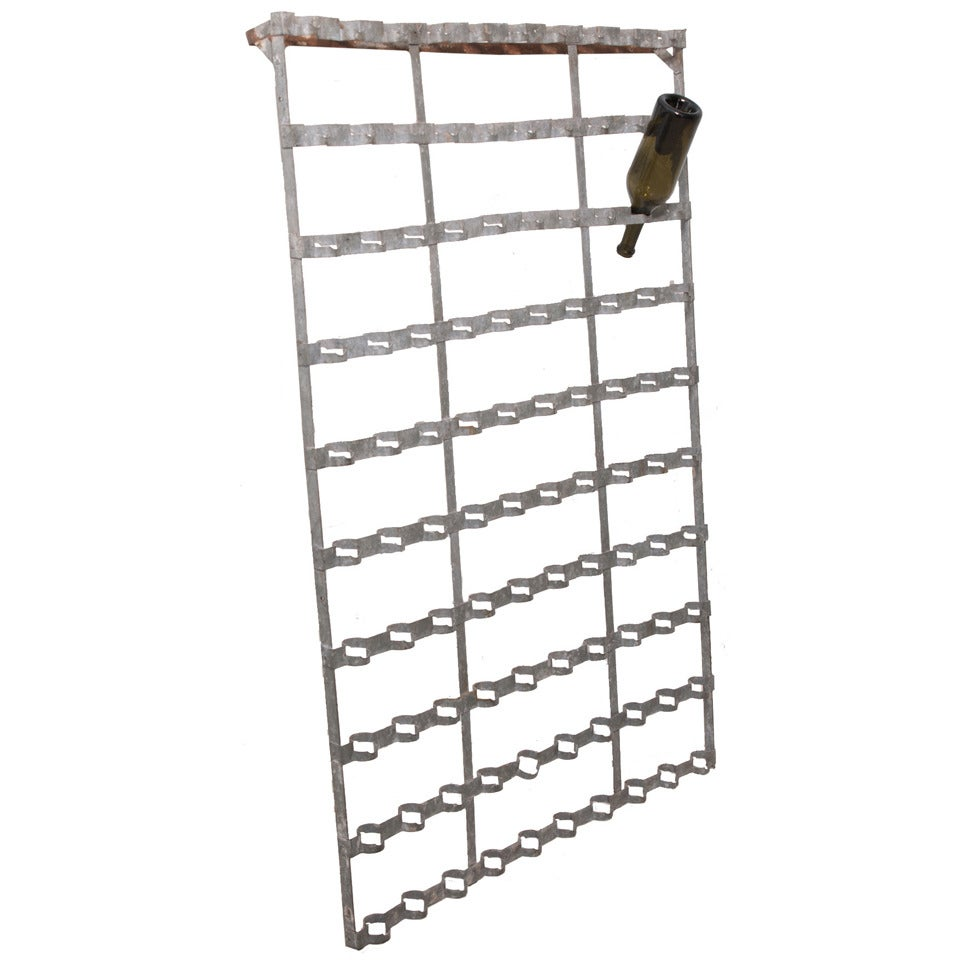 French 1920s Metal Wall Hanging Wine Bottle Rack At 1stdibs