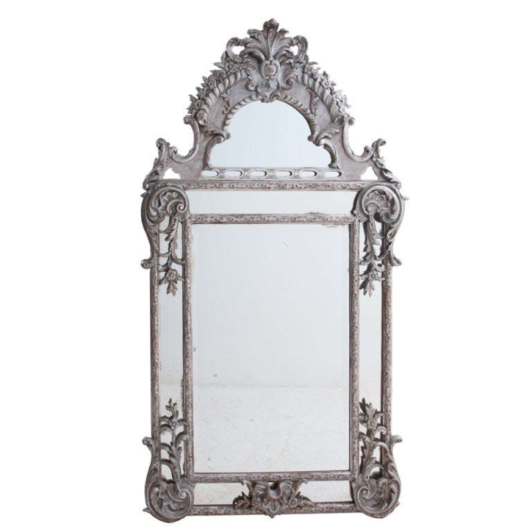 French Silver Gilt Baroque Parclouse Mirror