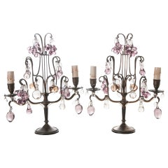 French, 19th Century Pair of Candelabra Lamps