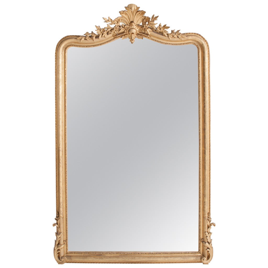 French 19th century louis xv gold gilt mirror at 1stdibs for What is a gilt mirror