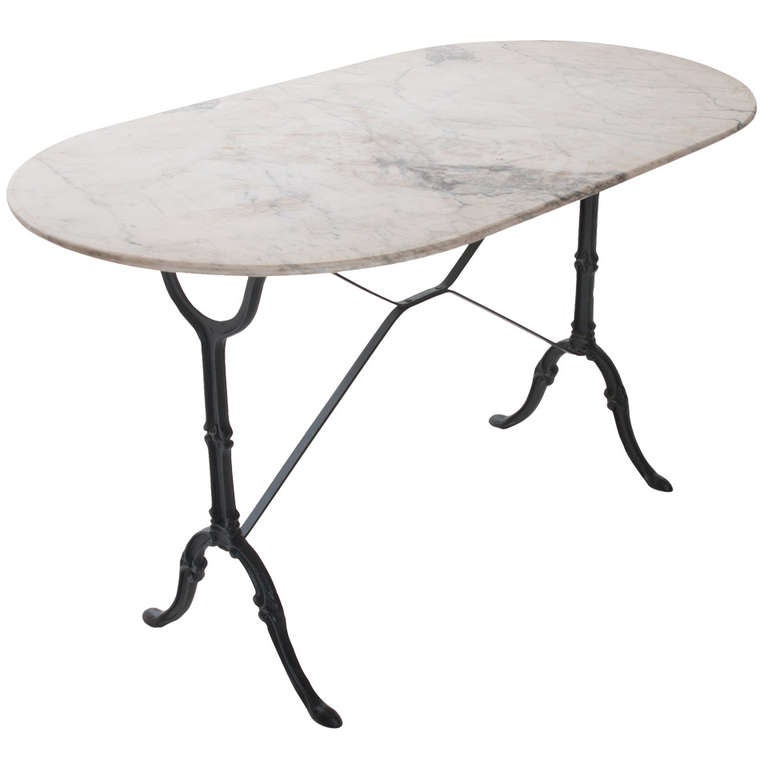 French 1920 S White Marble Top And Iron Bistro Table At