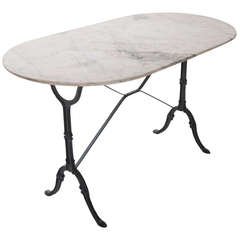 French 1920's White Marble Top & Iron Bistro Table