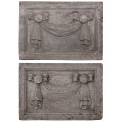 Pair of 19th Century Carved Limestone Plaques