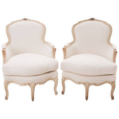 French Pair of 19th Century Louis XV Painted Bergeres