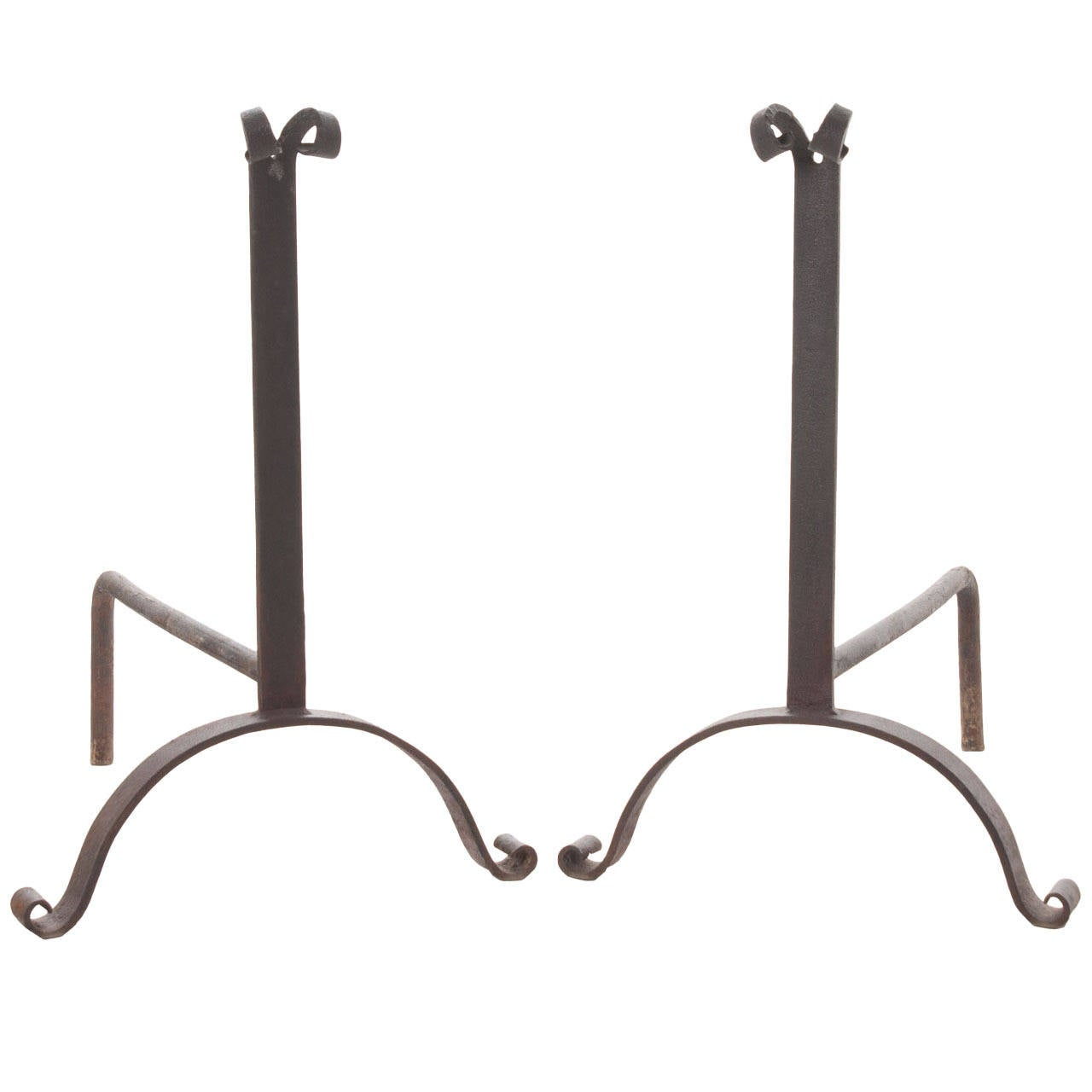 French Pair of 19th Century Forged Iron Andirons