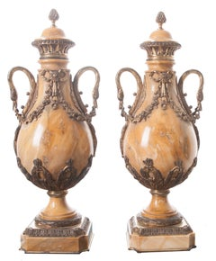 French 19th Century Pair of Yellow Marble and Bronze Cassolettes