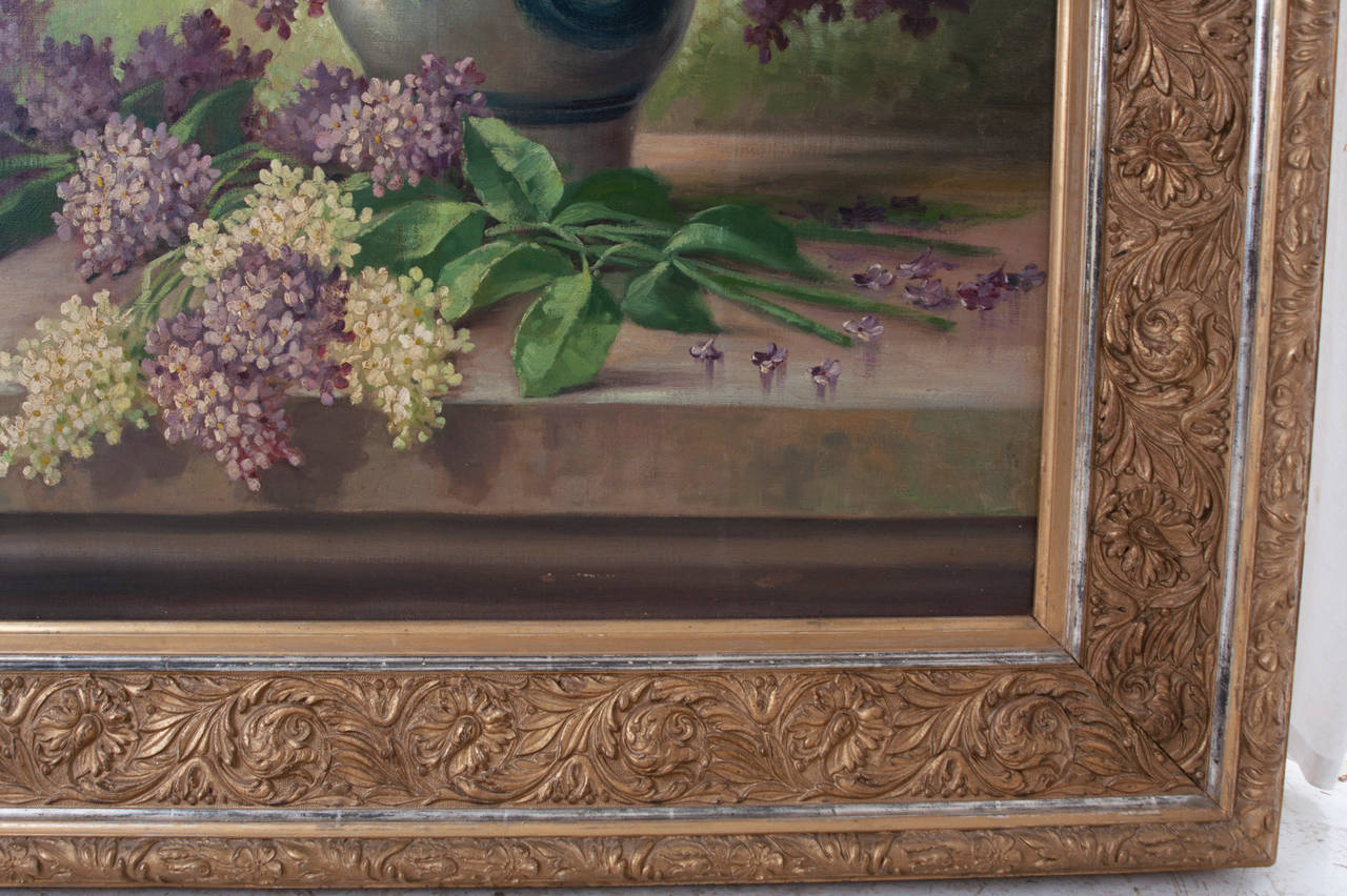 G. Corbier Oil Painting of Lilac Flowers with Carved Gilt Frame For Sale 2