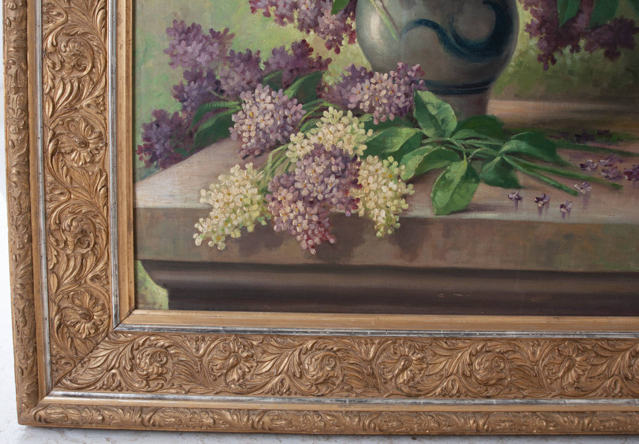 French G. Corbier Oil Painting of Lilac Flowers with Carved Gilt Frame For Sale