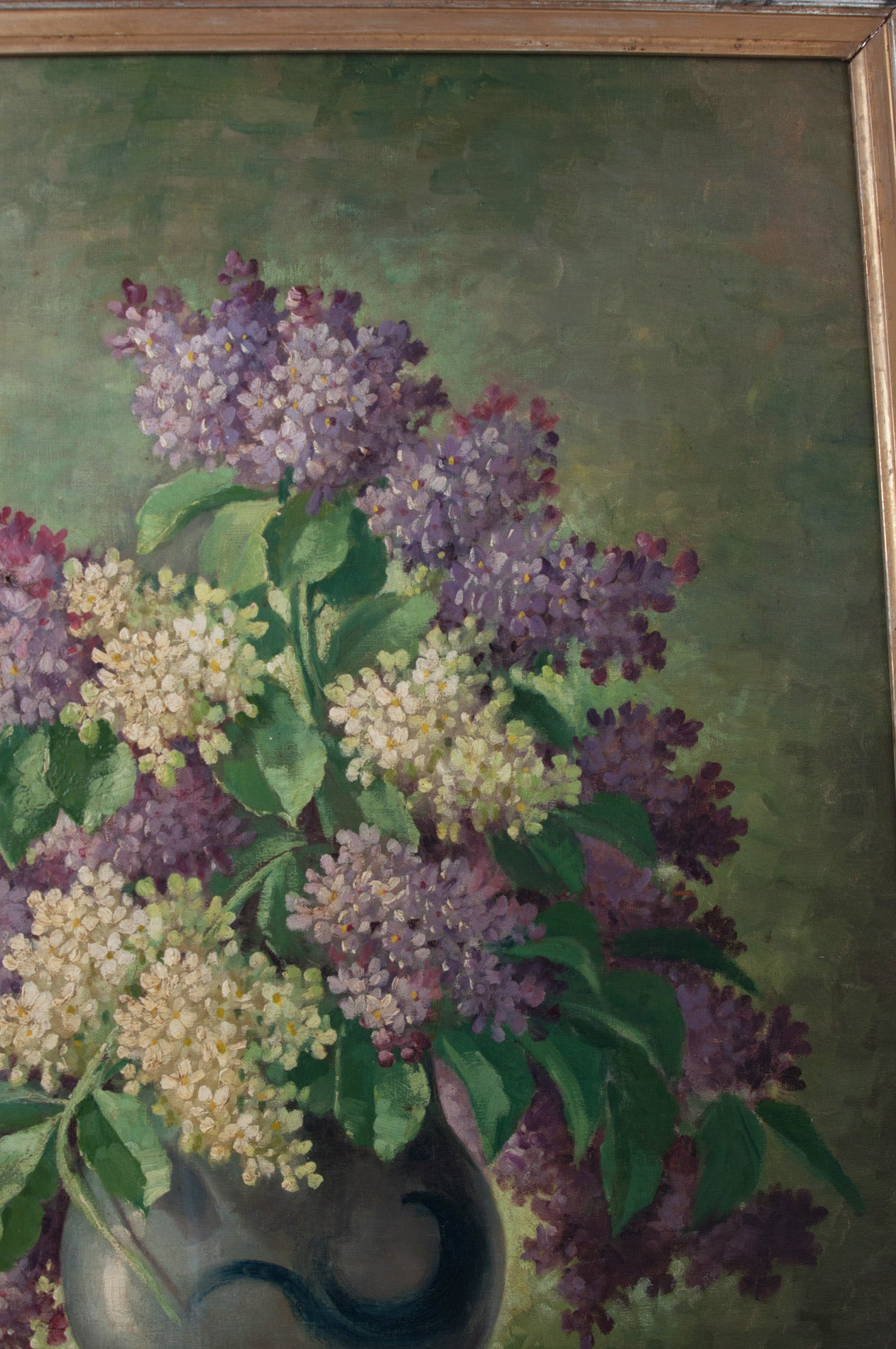 G. Corbier Oil Painting of Lilac Flowers with Carved Gilt Frame In Good Condition For Sale In Baton Rouge, LA
