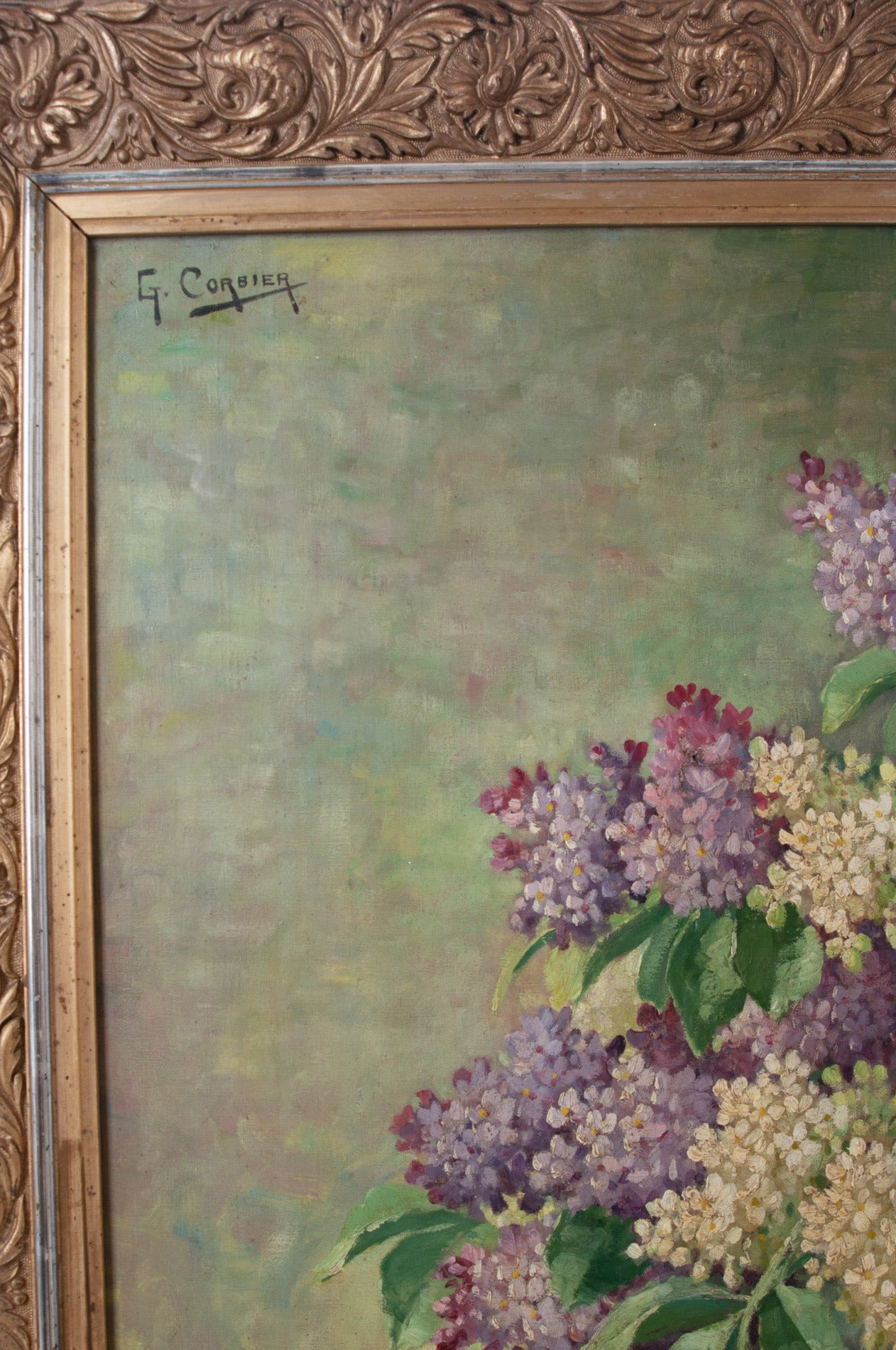 19th Century G. Corbier Oil Painting of Lilac Flowers with Carved Gilt Frame For Sale