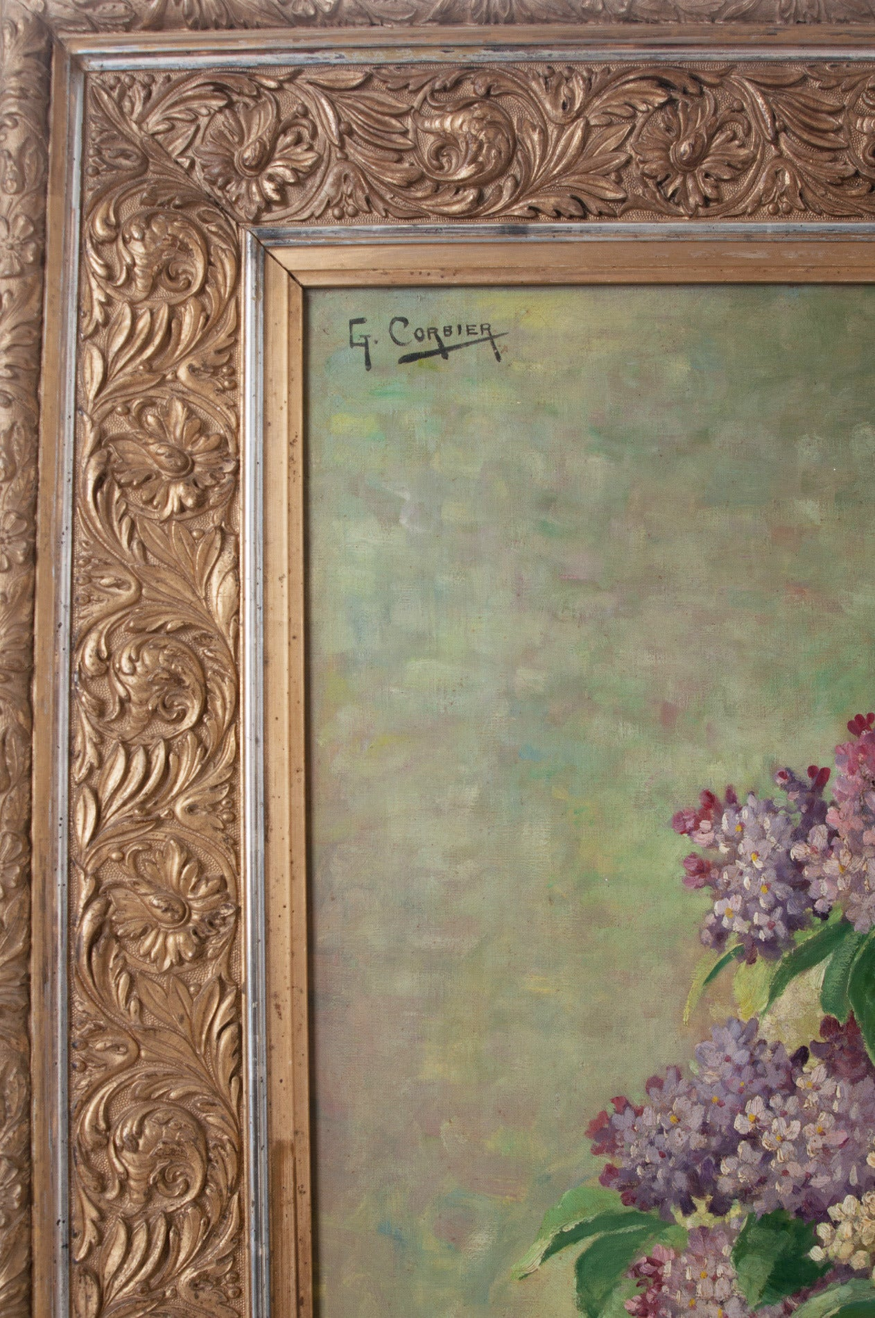 G. Corbier Oil Painting of Lilac Flowers with Carved Gilt Frame For Sale 1