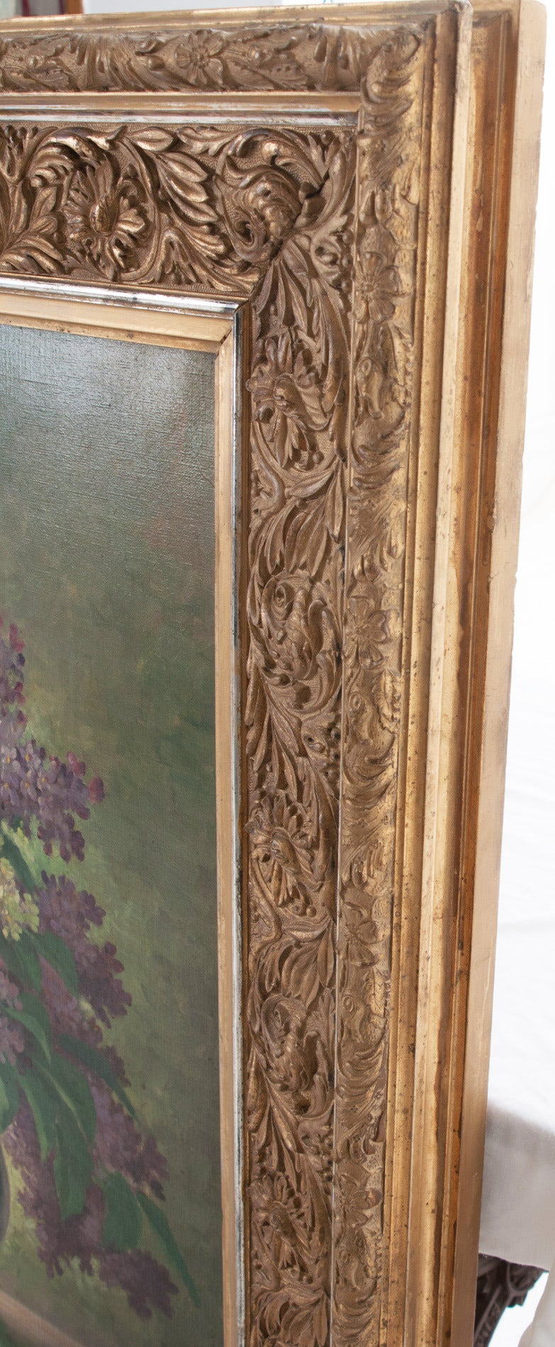 G. Corbier Oil Painting of Lilac Flowers with Carved Gilt Frame For Sale 3