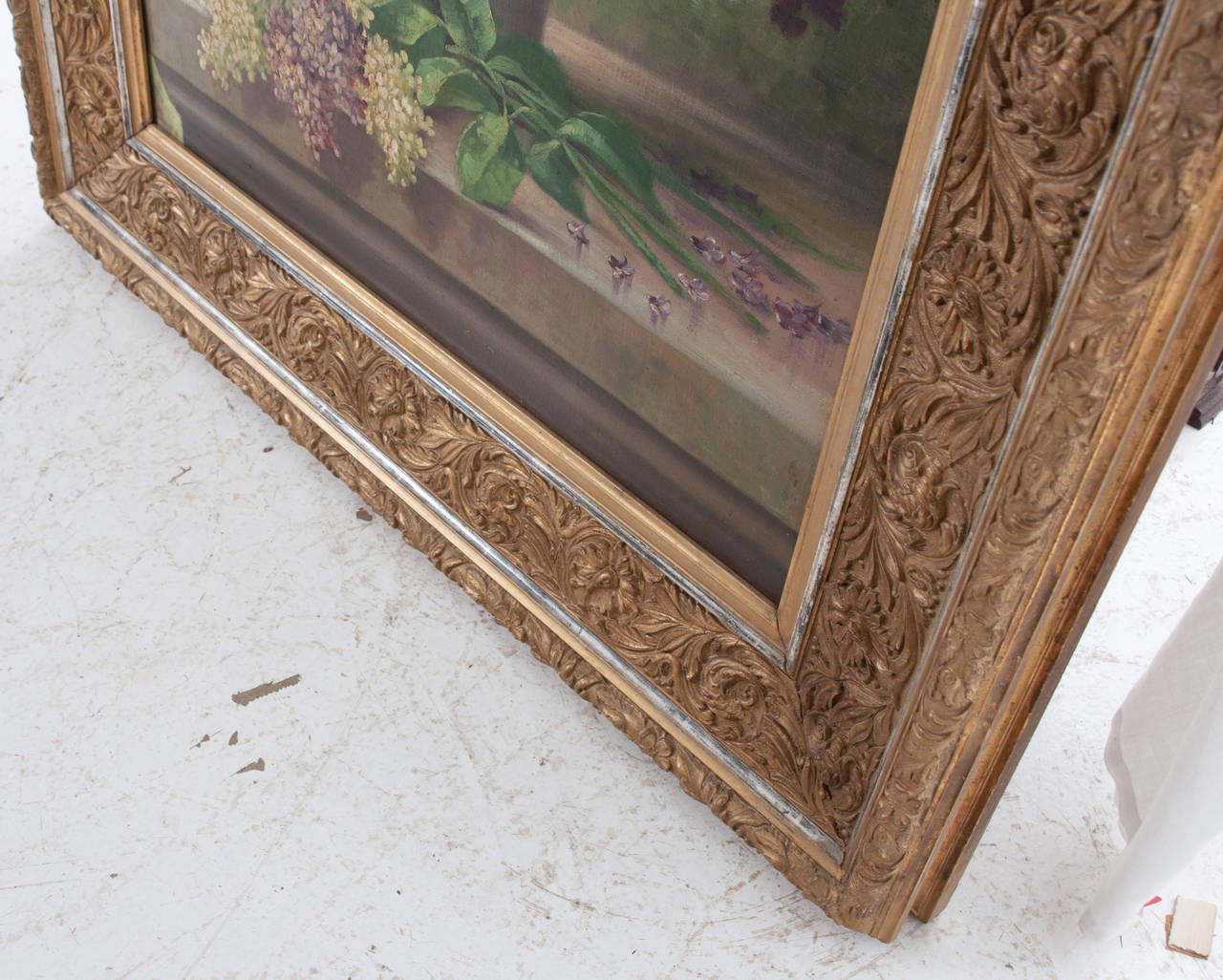 G. Corbier Oil Painting of Lilac Flowers with Carved Gilt Frame For Sale 4