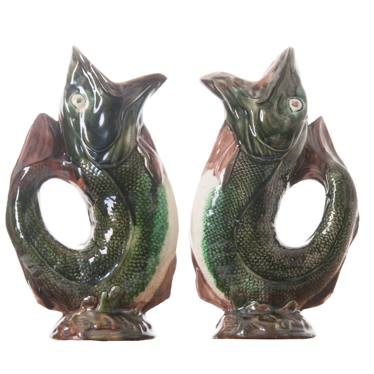 English pair of majolica gurgling fish pitchers at 1stdibs - Fish pitcher gurgle ...