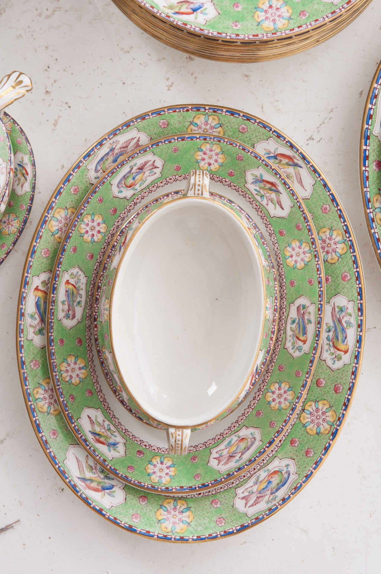 English Ashworth Brothers ironstone dinner service, all handpainted before 1890.