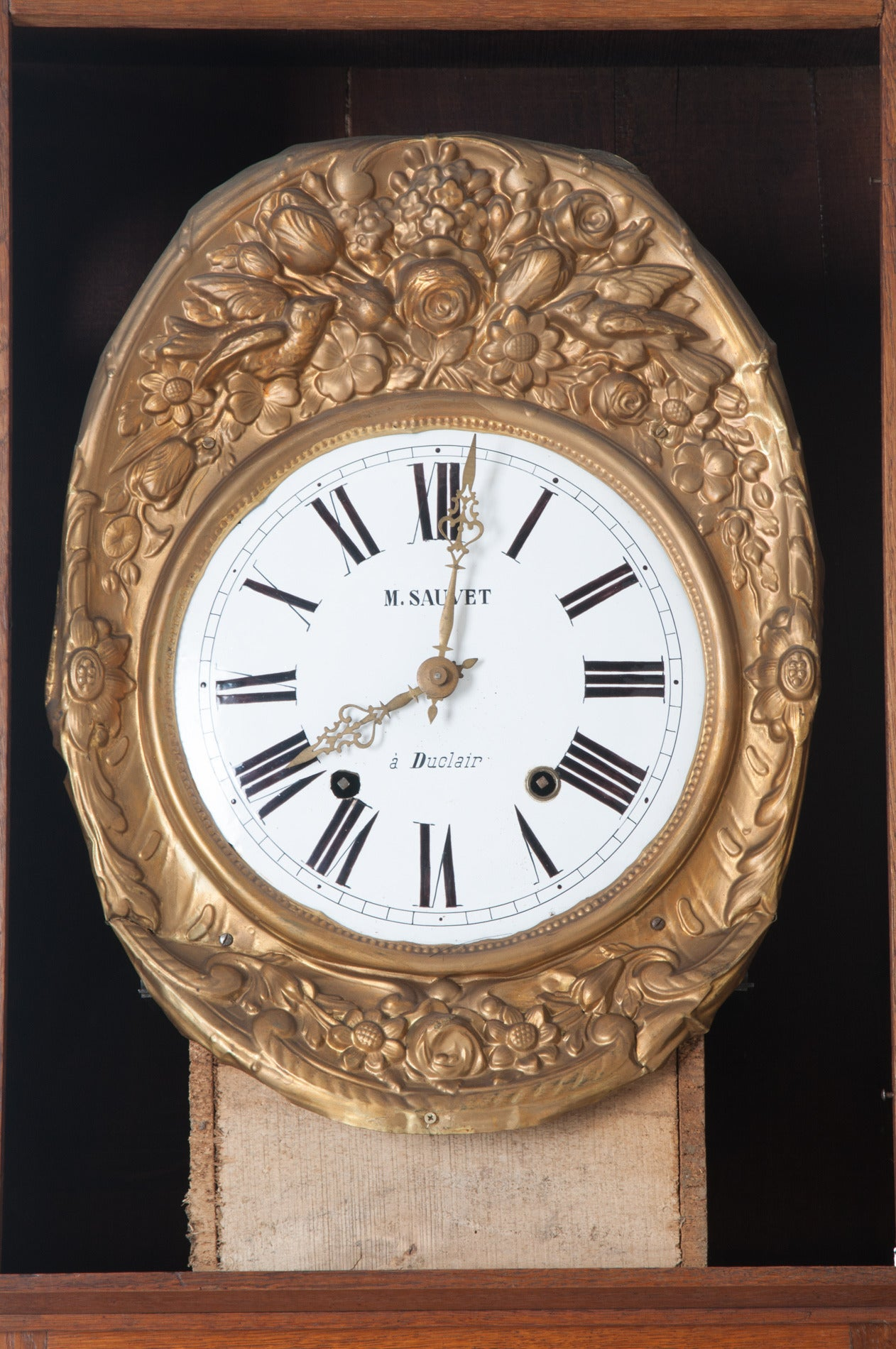 Carved French 19th Century Oak Tall Case Clock For Sale