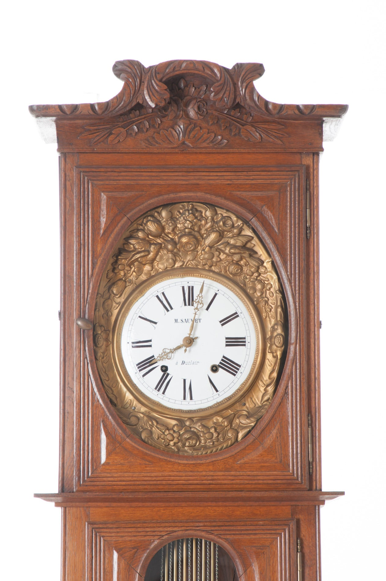 Brass French 19th Century Oak Tall Case Clock For Sale