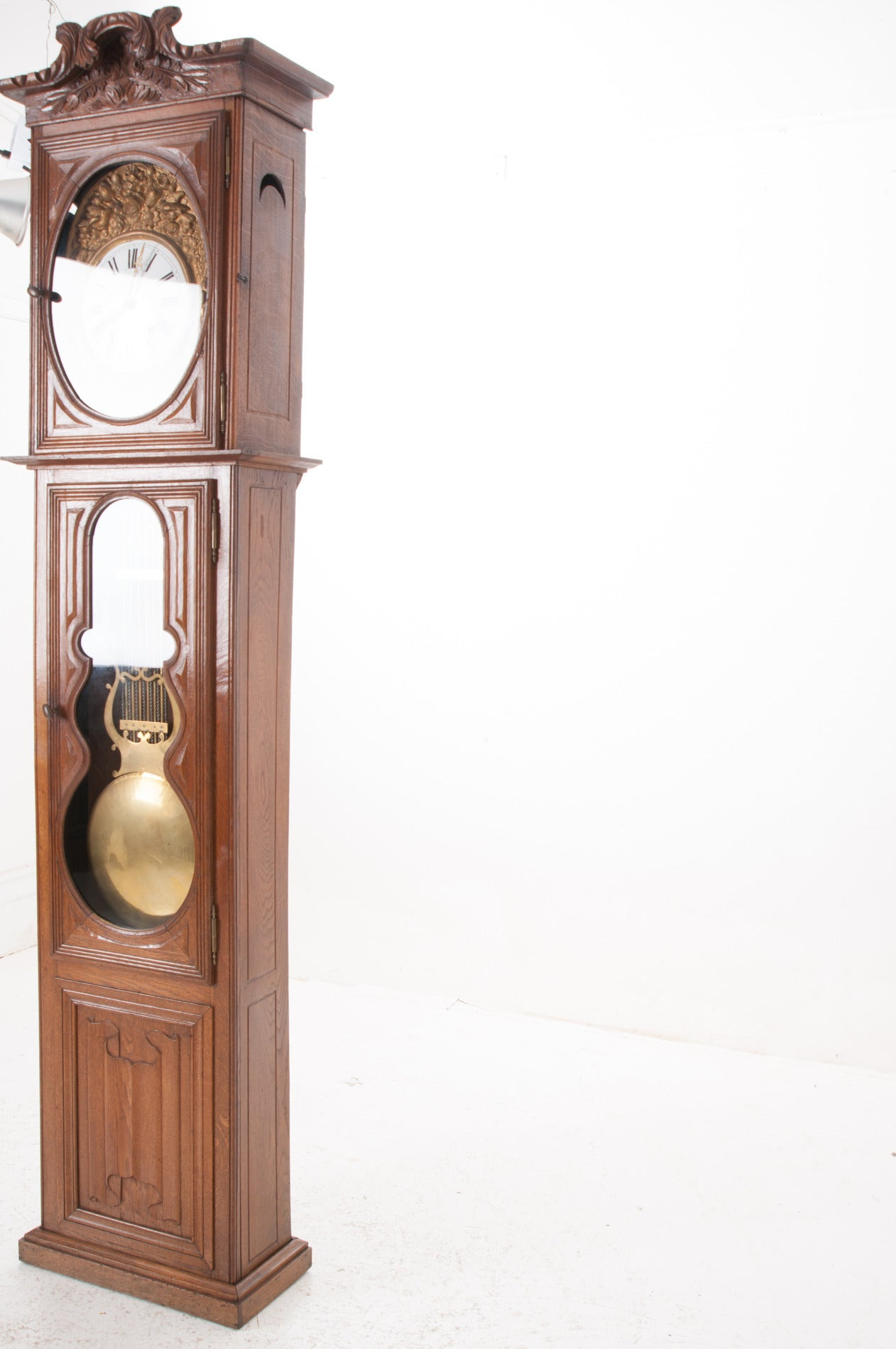 French 19th Century Oak Tall Case Clock For Sale 4