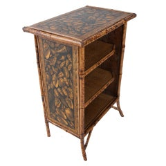 English Mixed Shell Decoupage Bamboo Bookcase