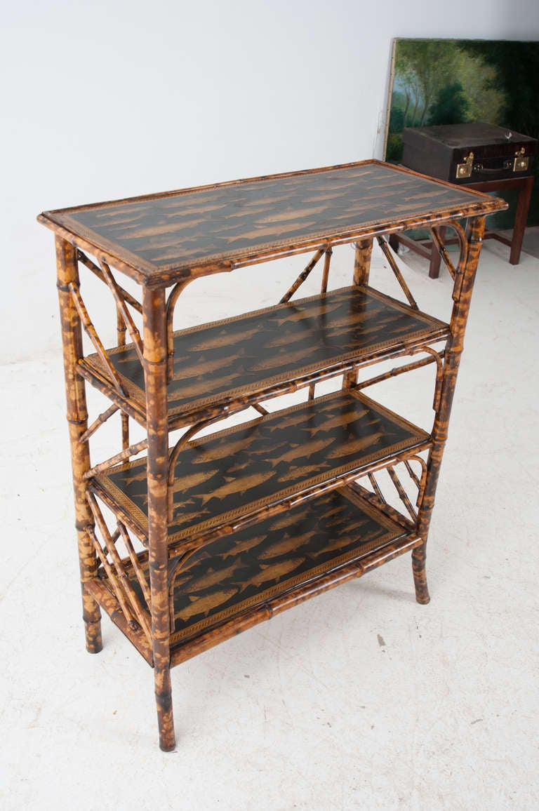 English fish decoupage bamboo bookcase at 1stdibs for L fish furniture