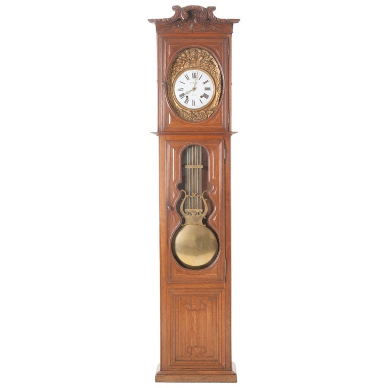 French 19th Century Oak Tall Case Clock For Sale