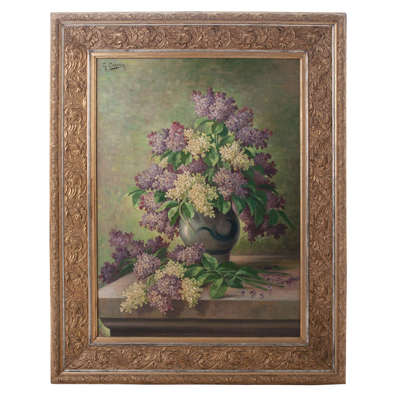 G. Corbier Oil Painting of Lilac Flowers with Carved Gilt Frame