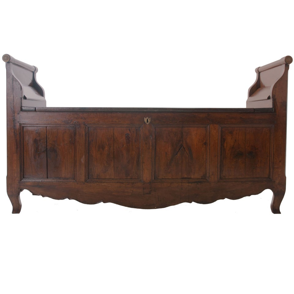 French 19th Century Chestnut Bench Trunk At 1stdibs