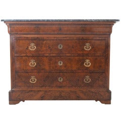 French Burled Walnut & Marble Louis Philippe Commode