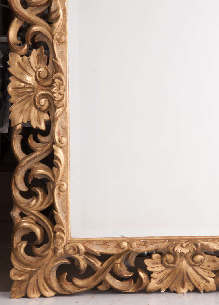 19th Century Giltwood Florentine Carved Mirror For Sale 2