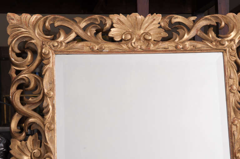 Italian 19th Century Giltwood Florentine Carved Mirror For Sale