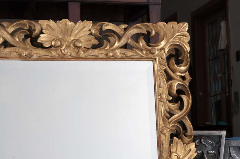 19th Century Giltwood Florentine Carved Mirror For Sale 1