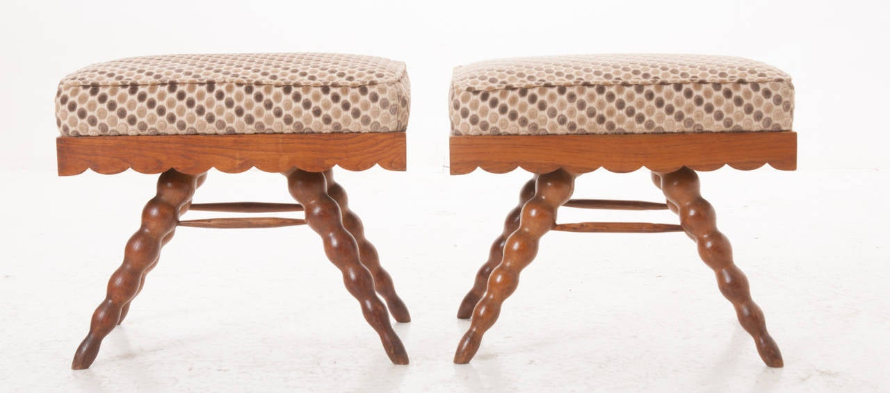 Turned French Pair of Vintage Stools For Sale