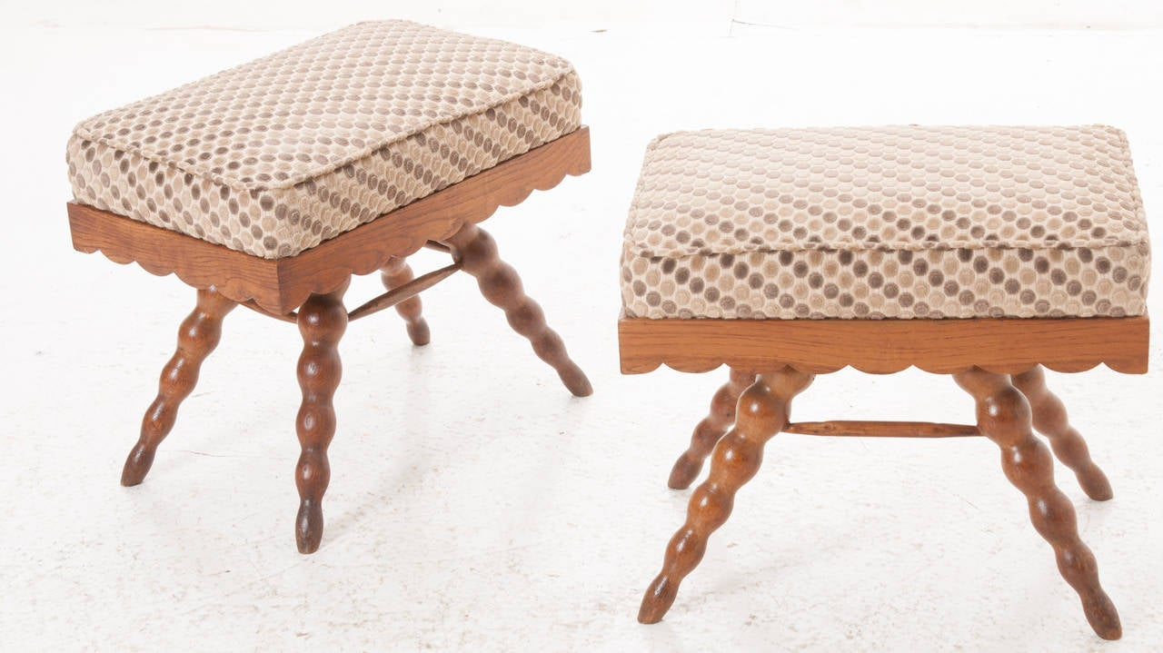 Mid-Century Modern French Pair of Vintage Stools For Sale