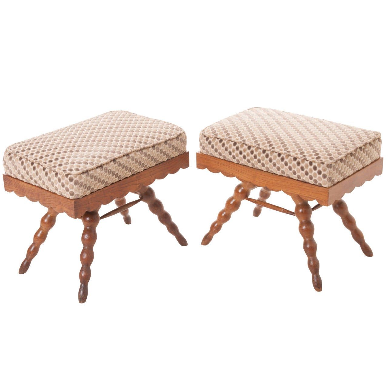 French Pair of Vintage Stools 1