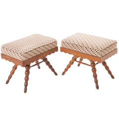 French Pair of Vintage Stools
