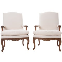 French Louis XV Style Pair of Carved Walnut Fauteuils
