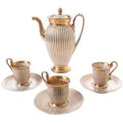 French Old Paris Coffee Pot & Cups with Saucers