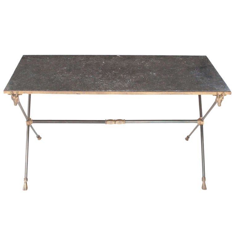 English 1920 39 S Marble And Metal X Base Coffee Table At 1stdibs