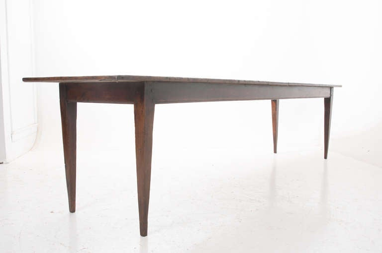 French 19th century dark pine 10ft farm table at 1stdibs for 10 ft farmhouse table