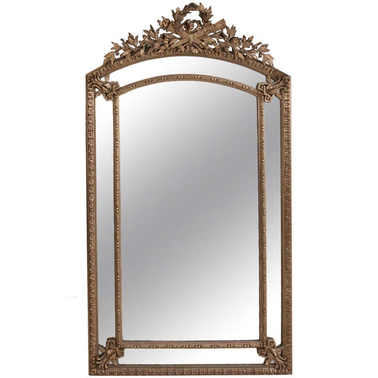 French Louis XVI Style Gold Gilt Pareclose Mirror