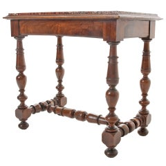 French 19th Century Marble Top & Turned Walnut Table