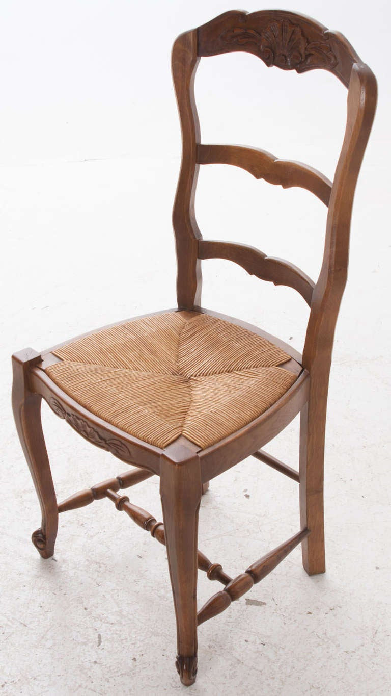 French oak ladder back rush seat chairs set of 6 at 1stdibs Ladder back chairs