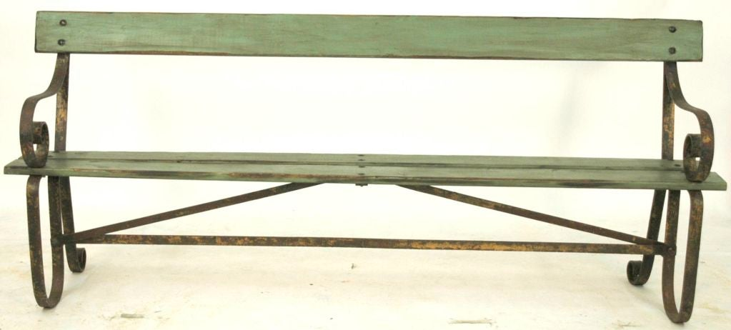 20th Century French Painted Metal and Wood Garden Bench For Sale