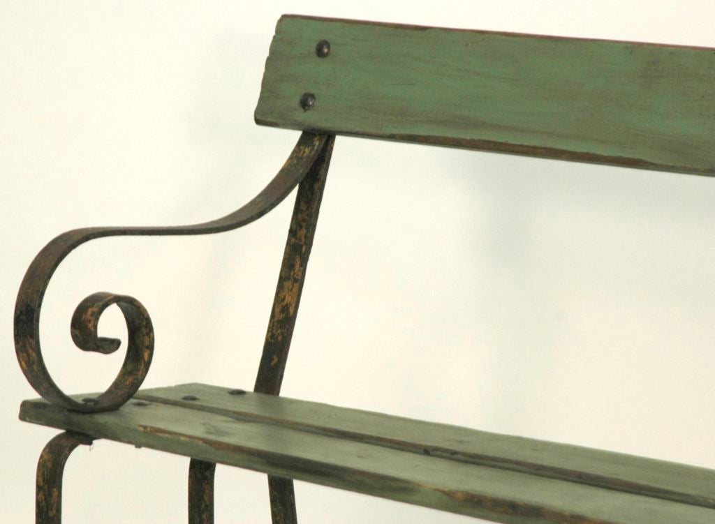 French Painted Metal and Wood Garden Bench For Sale 1