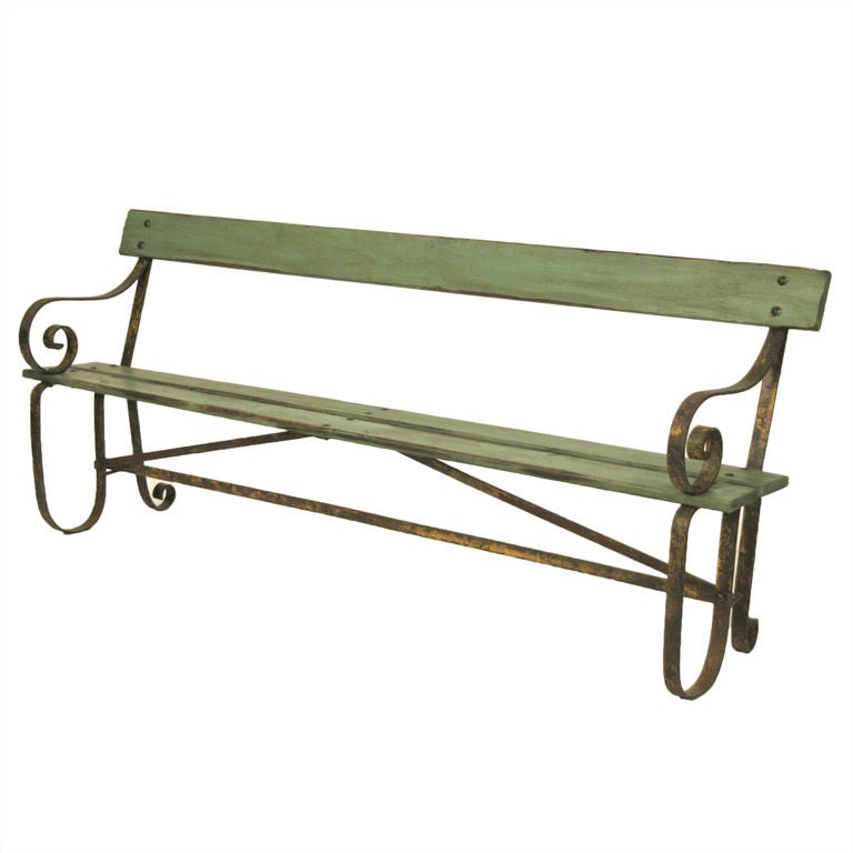 French Painted Metal And Wood Garden Bench At