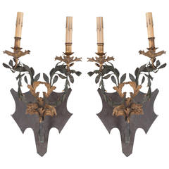 Pair of French Trumeau Sconces with Custom Shield Backplates