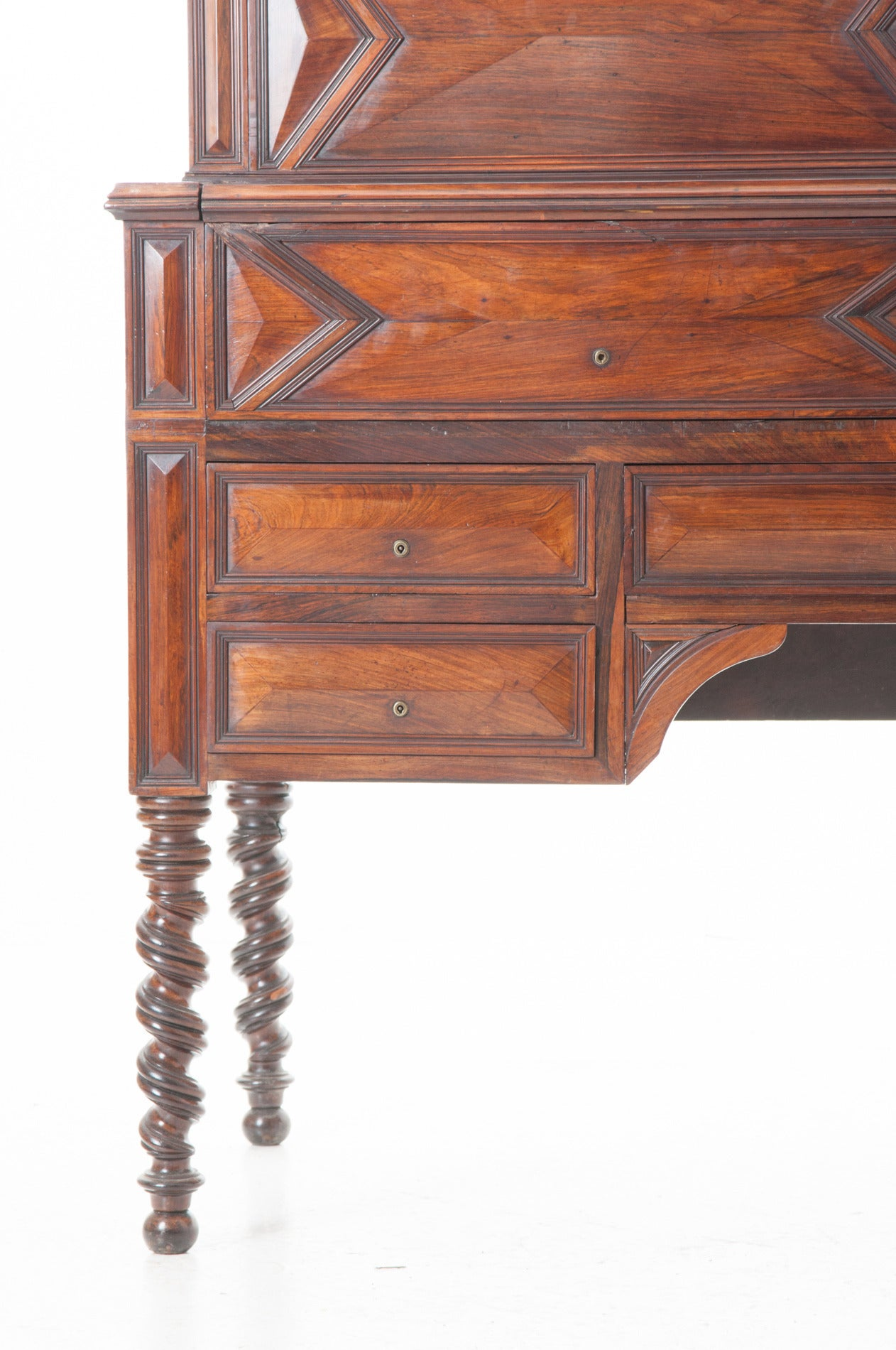 Neoclassical French 19th Century Barley Twist Fold Down Desk For Sale
