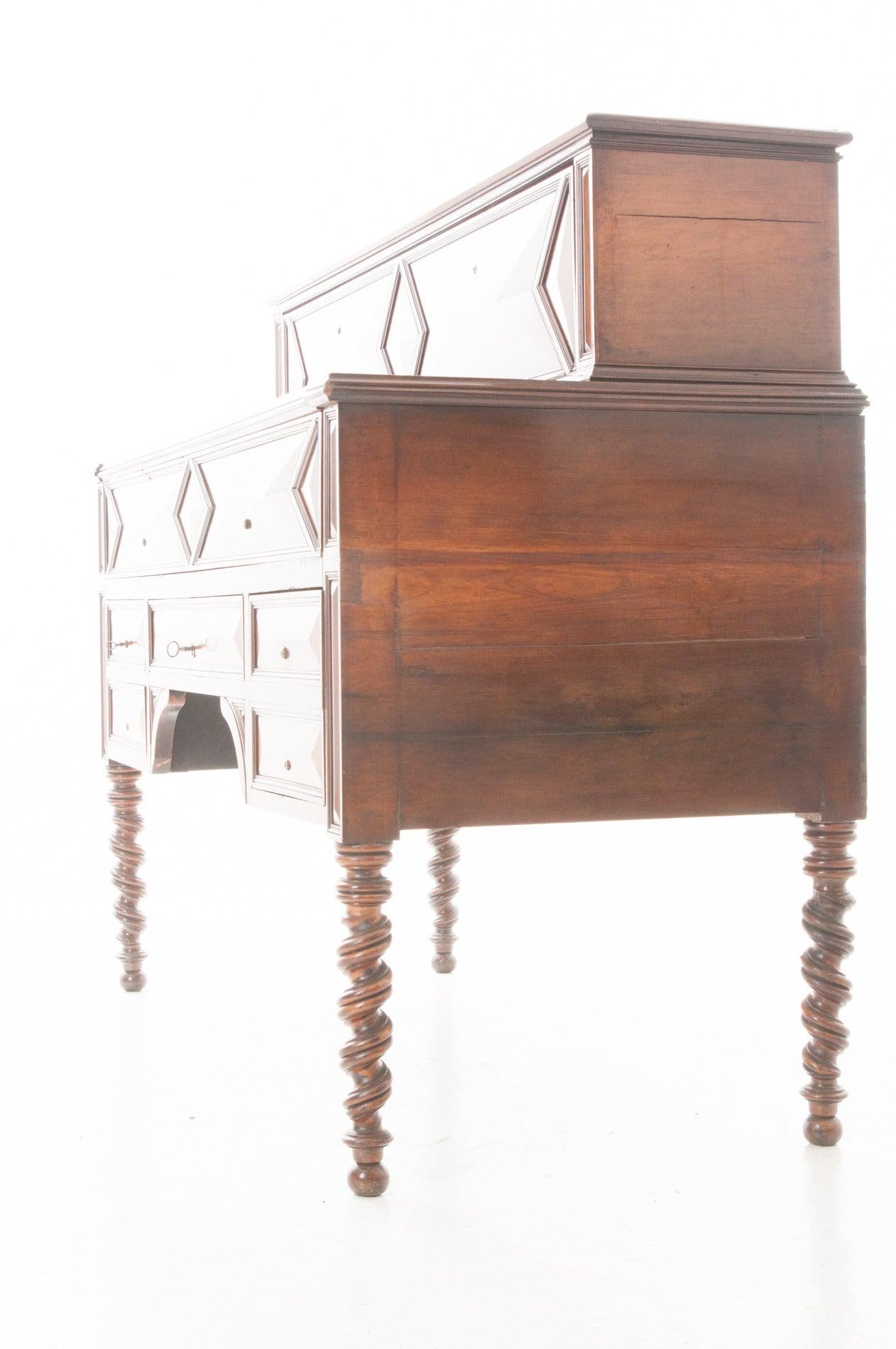 French 19th century barley twist fold down desk for sale Fold down desk