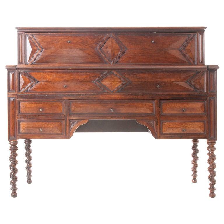 French 19th Century Barley Twist Fold Down Desk For Sale