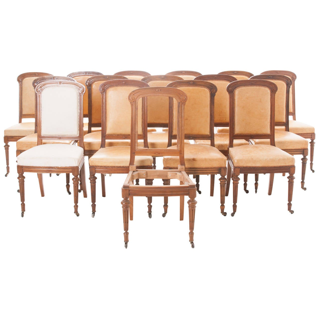 Set of 16 french 19th century walnut dining chairs at 1stdibs for Dining room tables that seat 16